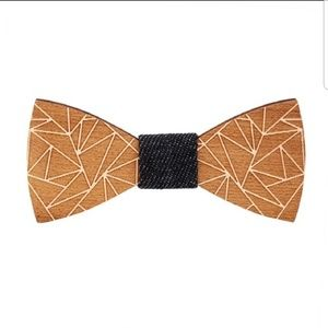 Other - Geometric Patterned Wooden Bow Tie